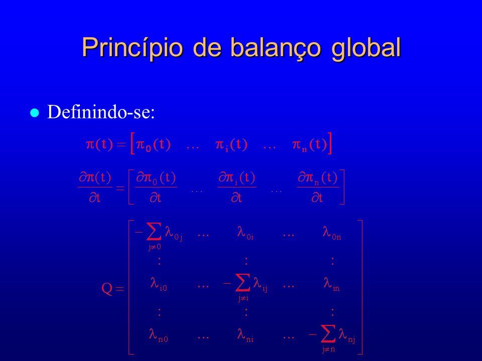 Princípio de balanço global Definindo-se: