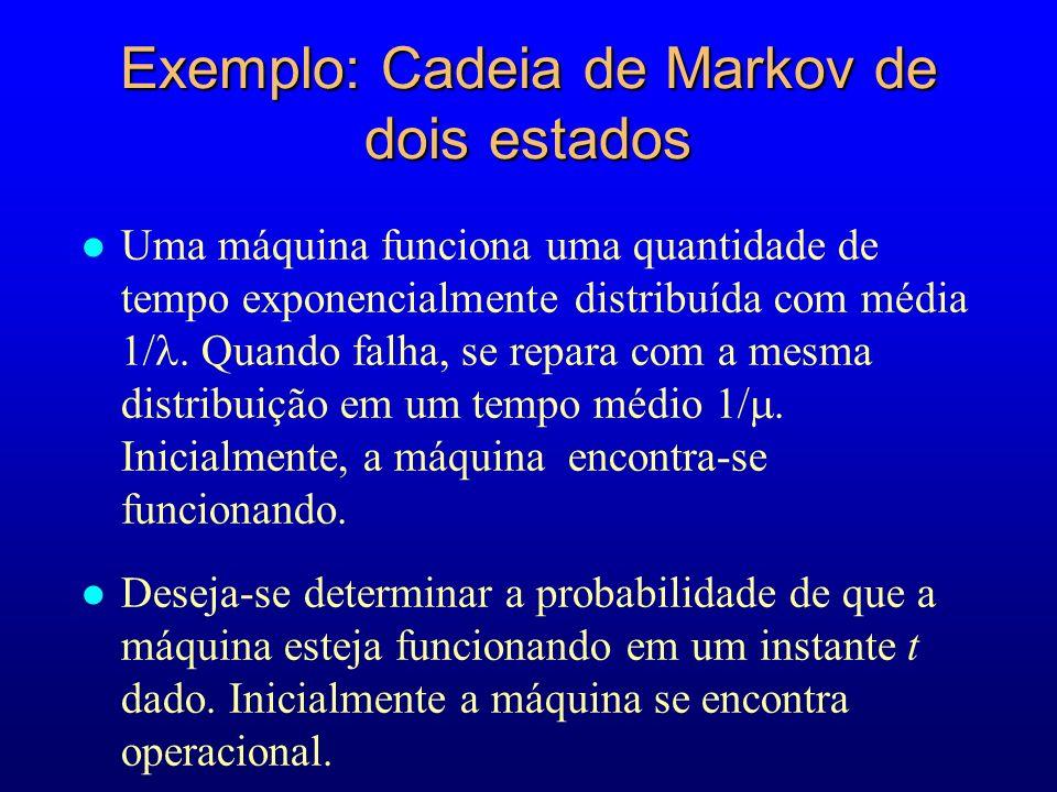 Exemplo: Cadeia de Markov de dois estados Uma máquina funciona uma quantidade de tempo exponencialmente distribuída com média 1/ Quando falha se repar