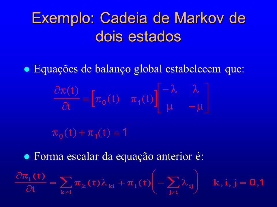 Exemplo: Cadeia de Markov de dois estados l Equações de balanço global estabelecem que: Forma escalar da equação anterior é: