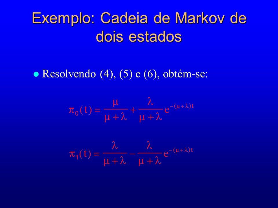 Exemplo: Cadeia de Markov de dois estados Resolvendo (4), (5) e (6), obtém-se: