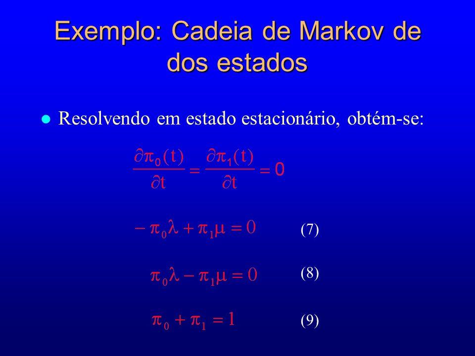 Exemplo: Cadeia de Markov de dos estados l Resolvendo em estado estacionário, obtém-se: (7) (8) (9)