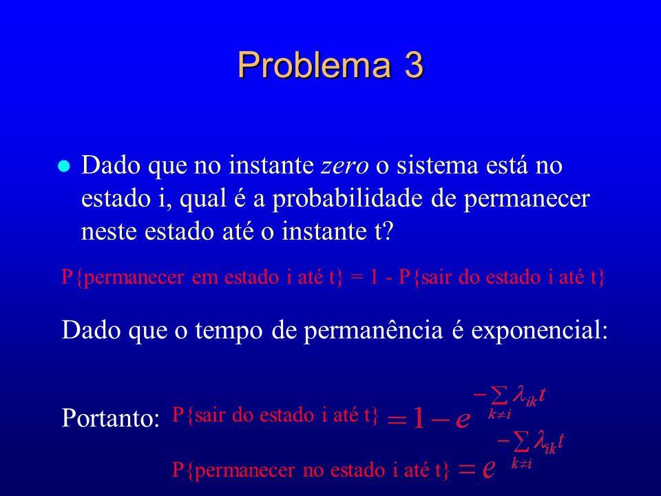 Problema 3 l Dado que no instante zero o sistema está no estado i, qual é a probabilidade de permanecer neste estado até o instante t? P{permanecer em