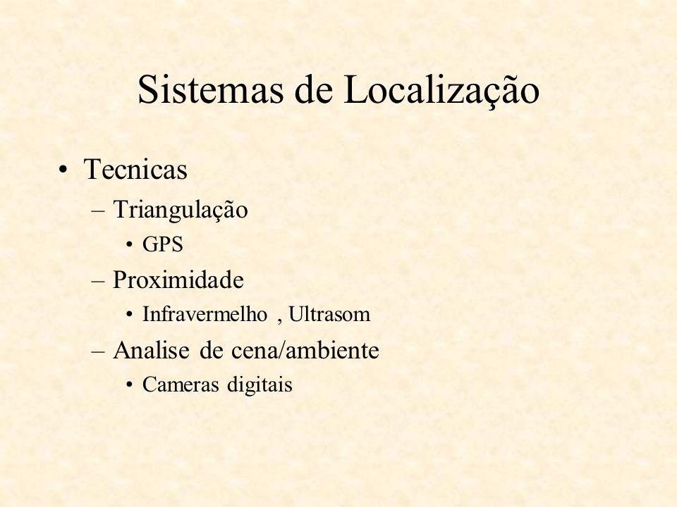 Sistemas de Localização Descrição da Localização –Coordenadas Simbólica –Ex: dentro de um quarto Física –Ex : 74º15 N e 65º23W