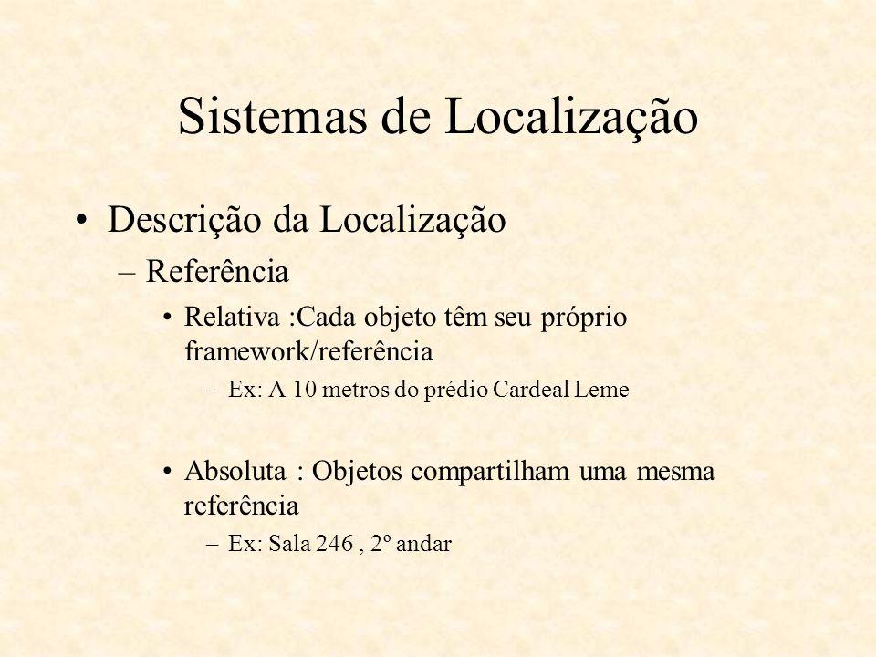 Location Stack Modelo em camadas –Modelo deriva das seguintes questões: Há tipos de medidas fundamentais –Distancia –Ângulo –Proximidade –Todos apresentam incertezas e precisão