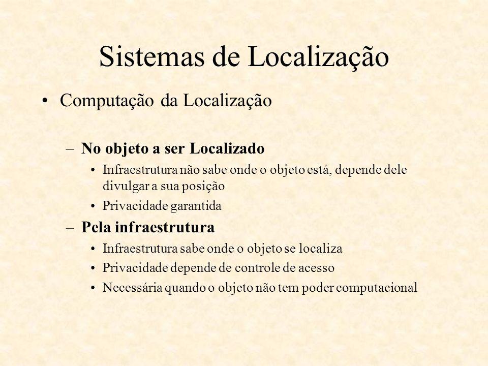 Location Stack Modelo em camadas –Modelo deriva das seguintes questões: Há modos padrões de combinar medidas –Ex: distância e proximidade, localização e ângulo Há modos padrões de relacionar objetos –Proximidade –Contido em uma região –Formação geométrica