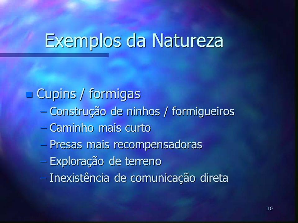10 Exemplos da Natureza n Cupins / formigas –Construção de ninhos / formigueiros –Caminho mais curto –Presas mais recompensadoras –Exploração de terre