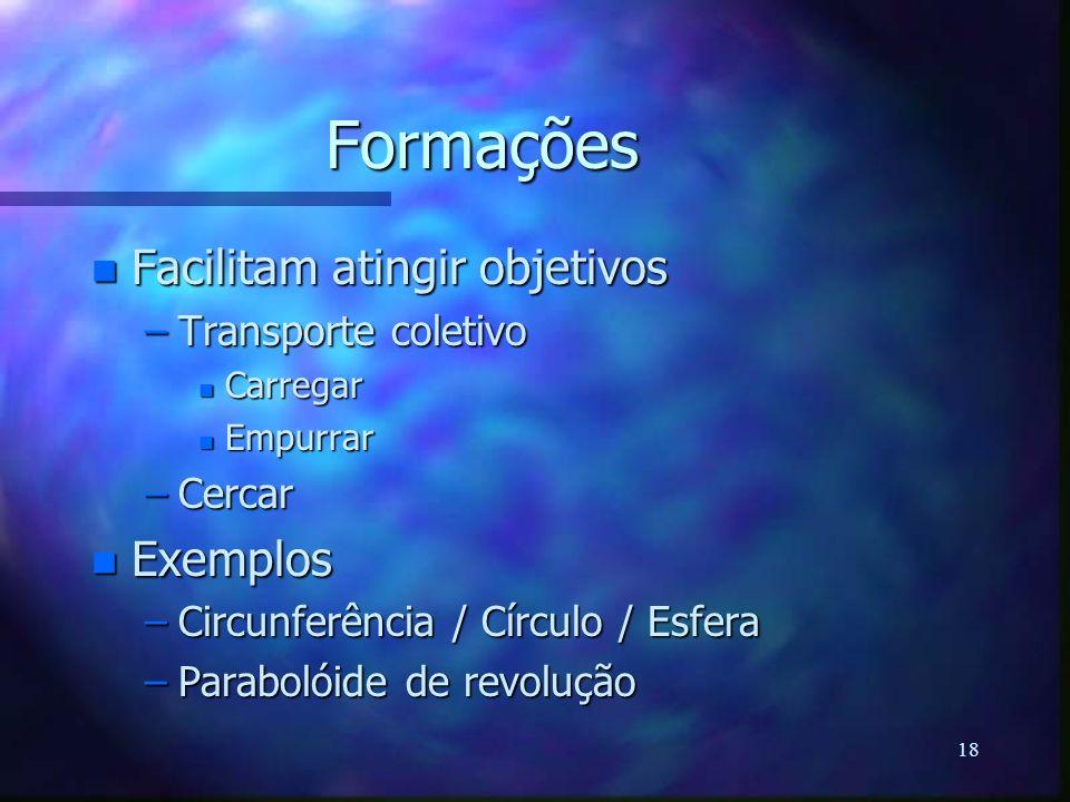 18 Formações n Facilitam atingir objetivos –Transporte coletivo n Carregar n Empurrar –Cercar n Exemplos –Circunferência / Círculo / Esfera –Parabolói