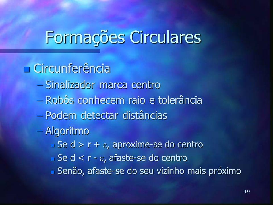 19 Formações Circulares n Circunferência –Sinalizador marca centro –Robôs conhecem raio e tolerância –Podem detectar distâncias –Algoritmo Se d > r +,
