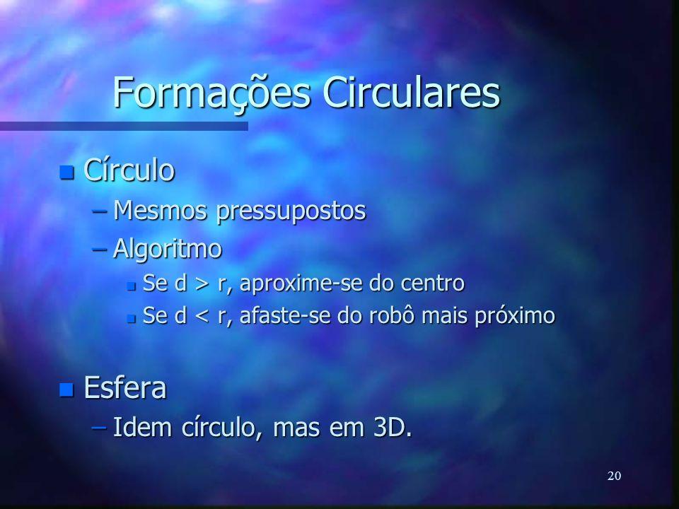 20 Formações Circulares n Círculo –Mesmos pressupostos –Algoritmo n Se d > r, aproxime-se do centro n Se d < r, afaste-se do robô mais próximo n Esfer