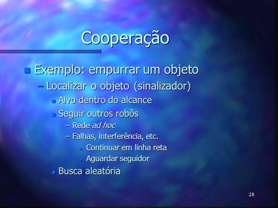 28 Cooperação n Exemplo: empurrar um objeto –Localizar o objeto (sinalizador) n Alvo dentro do alcance n Seguir outros robôs –Rede ad hoc –Falhas, int
