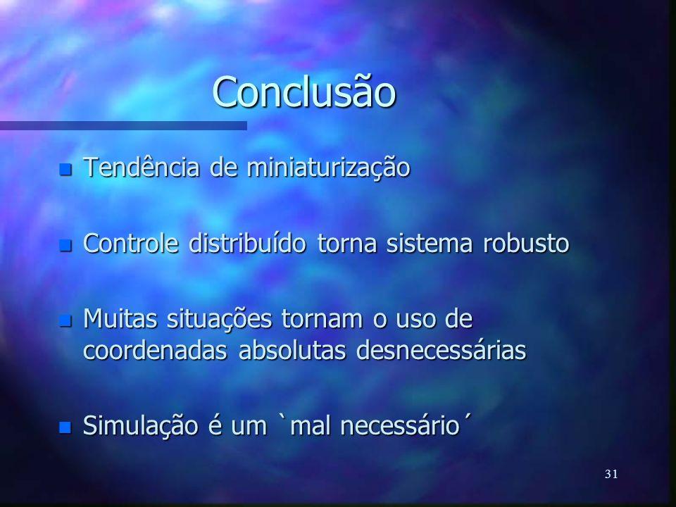 31 Conclusão n Tendência de miniaturização n Controle distribuído torna sistema robusto n Muitas situações tornam o uso de coordenadas absolutas desne