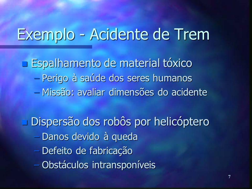 7 Exemplo - Acidente de Trem n Espalhamento de material tóxico –Perigo à saúde dos seres humanos –Missão: avaliar dimensões do acidente n Dispersão do