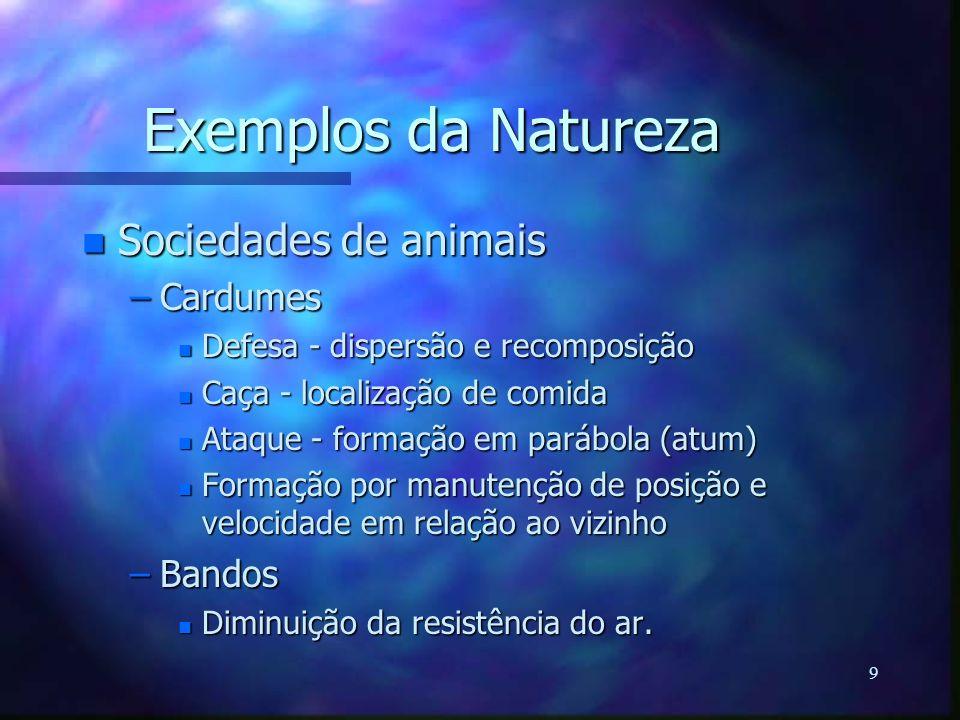 9 Exemplos da Natureza n Sociedades de animais –Cardumes n Defesa - dispersão e recomposição n Caça - localização de comida n Ataque - formação em par