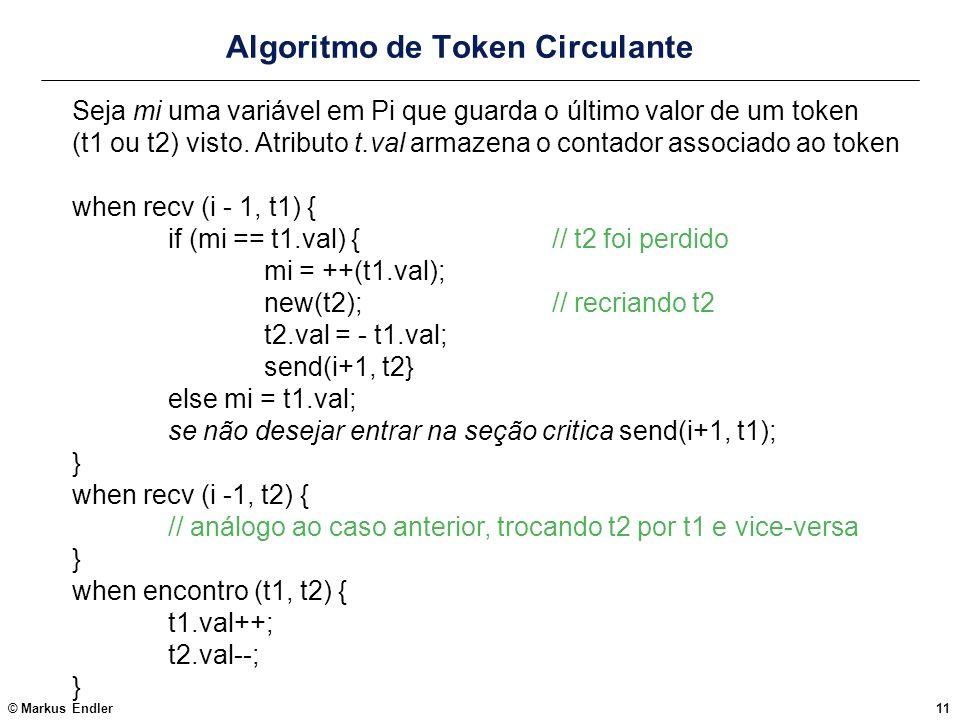 © Markus Endler11 Algoritmo de Token Circulante Seja mi uma variável em Pi que guarda o último valor de um token (t1 ou t2) visto. Atributo t.val arma