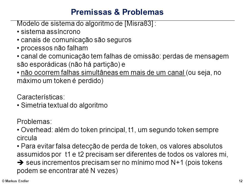 © Markus Endler12 Premissas & Problemas Modelo de sistema do algoritmo de [Misra83] : sistema assíncrono canais de comunicação são seguros processos n