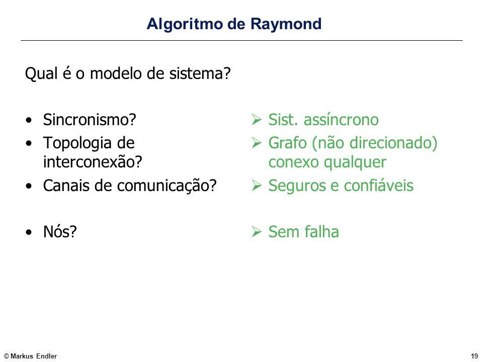 © Markus Endler19 Algoritmo de Raymond Qual é o modelo de sistema? Sincronismo? Topologia de interconexão? Canais de comunicação? Nós? Sist. assíncron