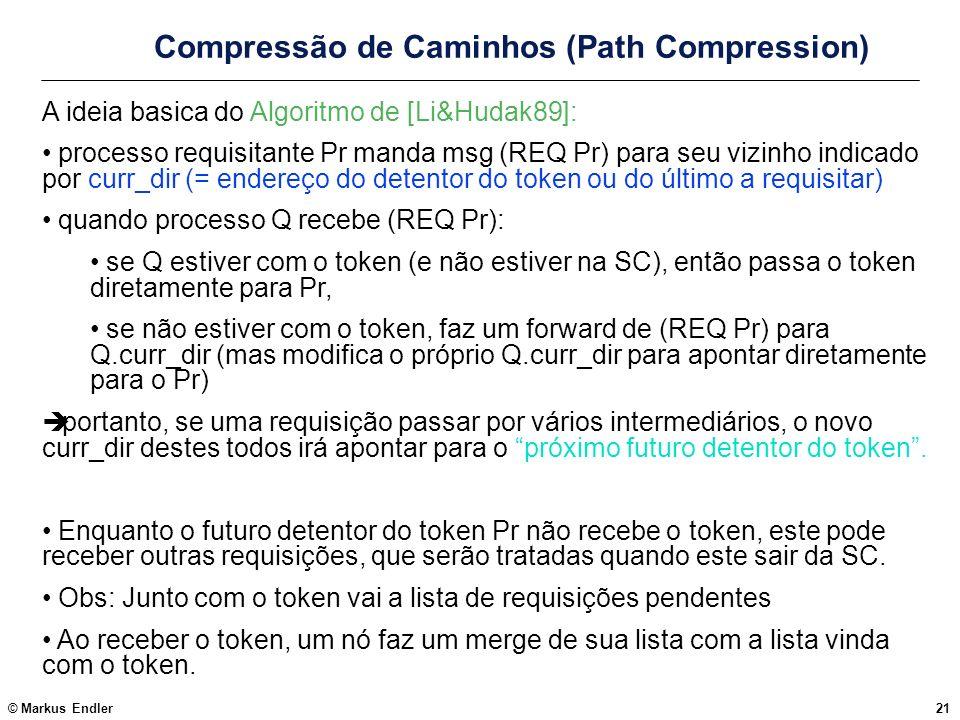 © Markus Endler21 Compressão de Caminhos (Path Compression) A ideia basica do Algoritmo de [Li&Hudak89]: processo requisitante Pr manda msg (REQ Pr) p