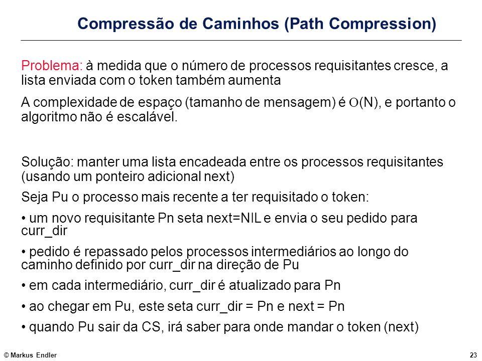 © Markus Endler23 Compressão de Caminhos (Path Compression) Problema: à medida que o número de processos requisitantes cresce, a lista enviada com o t