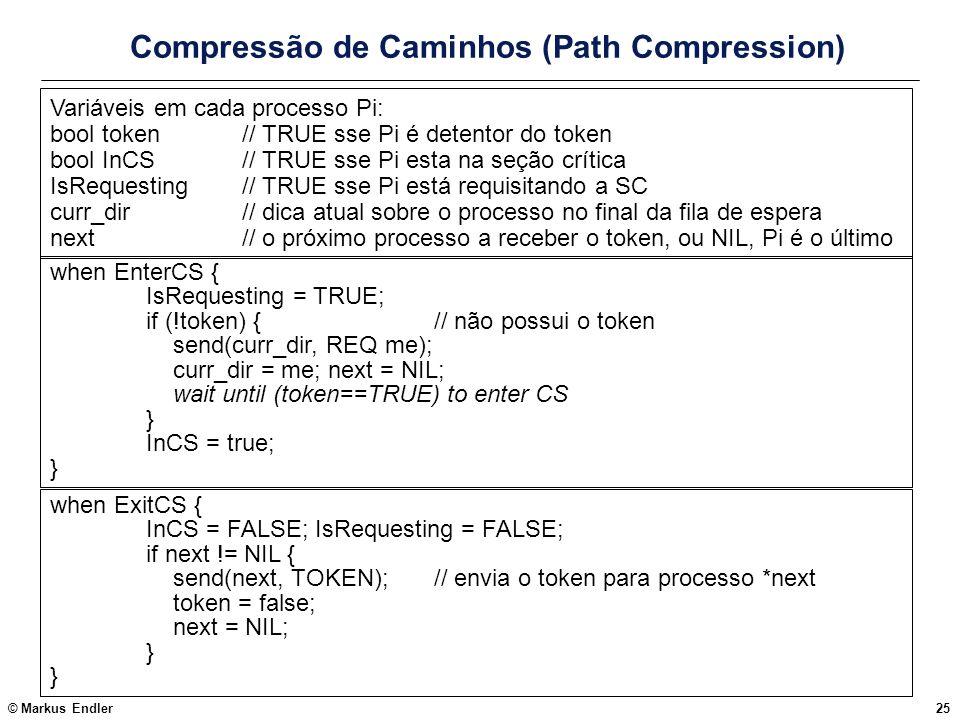 © Markus Endler25 Compressão de Caminhos (Path Compression) when ExitCS { InCS = FALSE; IsRequesting = FALSE; if next != NIL { send(next, TOKEN);// en