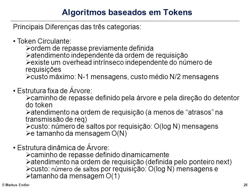 © Markus Endler28 Algoritmos baseados em Tokens Principais Diferenças das três categorias: Token Circulante: ordem de repasse previamente definida ate
