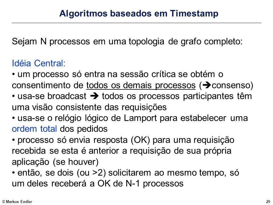 © Markus Endler29 Algoritmos baseados em Timestamp Sejam N processos em uma topologia de grafo completo: Idéia Central: um processo só entra na sessão