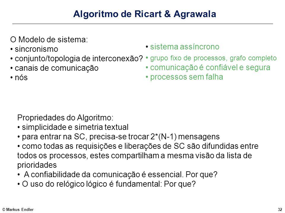 © Markus Endler32 Algoritmo de Ricart & Agrawala O Modelo de sistema: sincronismo conjunto/topologia de interconexão? canais de comunicação nós Propri