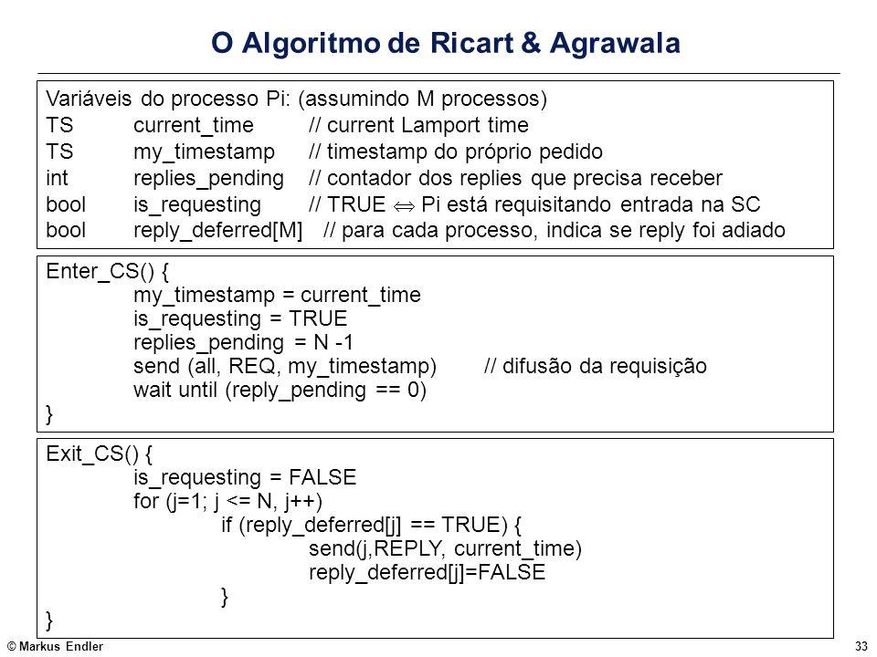 © Markus Endler33 O Algoritmo de Ricart & Agrawala Variáveis do processo Pi: (assumindo M processos) TScurrent_time// current Lamport time TSmy_timest