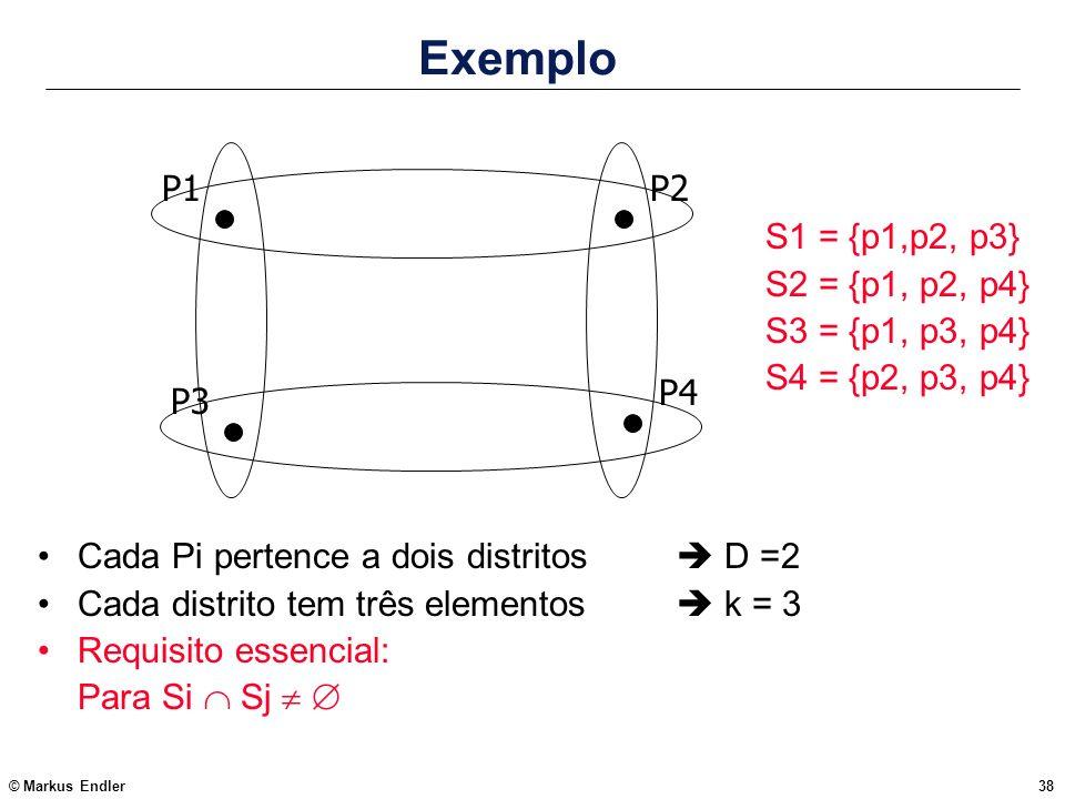 © Markus Endler38 Exemplo Cada Pi pertence a dois distritos D =2 Cada distrito tem três elementos k = 3 Requisito essencial: Para Si Sj P1 P3 P2 P4 S1