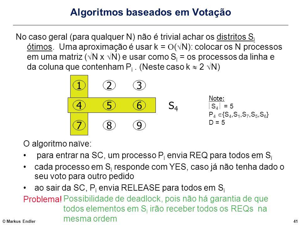 © Markus Endler41 Algoritmos baseados em Votação No caso geral (para qualquer N) não é trivial achar os distritos S i ótimos. Uma aproximação é usar k