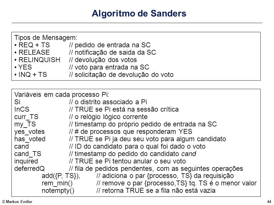© Markus Endler44 Algoritmo de Sanders Variáveis em cada processo Pi: Si // o distrito associado a Pi InCS// TRUE se Pi está na sessão crítica curr_TS