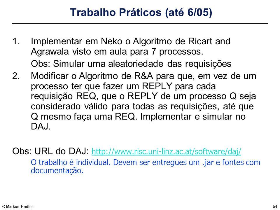 © Markus Endler54 Trabalho Práticos (até 6/05) 1.Implementar em Neko o Algoritmo de Ricart and Agrawala visto em aula para 7 processos. Obs: Simular u