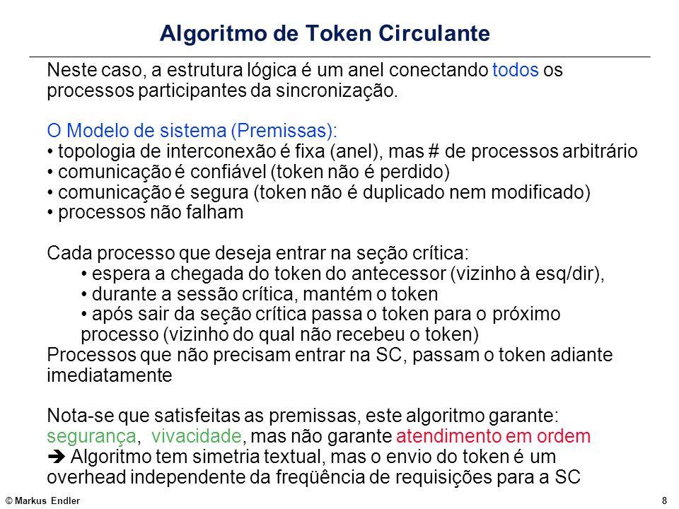 © Markus Endler9 Algoritmo do Token Circulante O controle do repasse do token é feito por um processo, que recebe requisições enter_region e exit_region da aplicação (naquele nó), e tokens circulantes do processo predecessor prev no anel.
