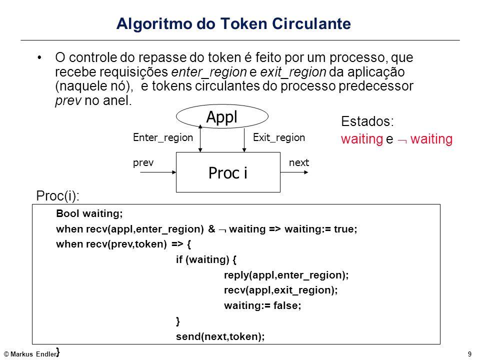 © Markus Endler20 Compressão de Caminhos (Path Compression) O principal problema do algoritmo de Raymond é que o token precisa ser passado por vários processos intermediários até chegar ao requisitante (isto se deve à estrutura logica fixa imposta aos processos por curr_dir) em vez disto, pode-se fazer com que a árvore tenha uma forma arbitrária e dinâmica, à medida que requisições vão sendo repassadas pelos processos.