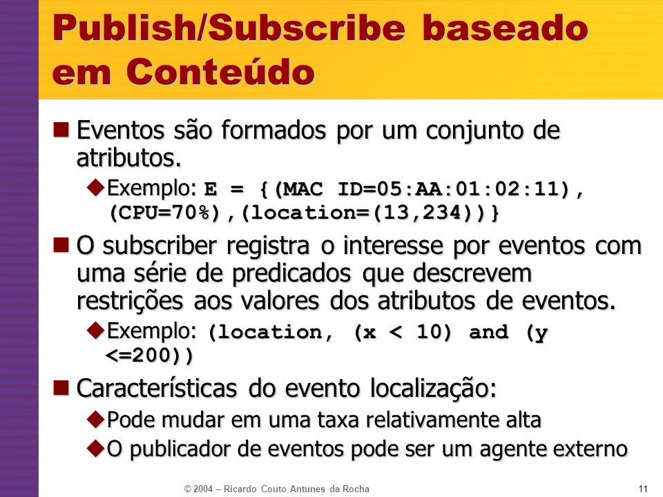 © 2004 – Ricardo Couto Antunes da Rocha11 Publish/Subscribe baseado em Conteúdo Eventos são formados por um conjunto de atributos. Eventos são formado
