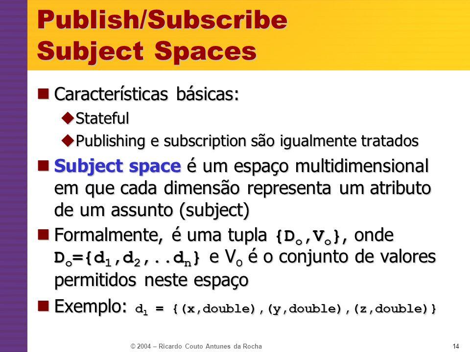 © 2004 – Ricardo Couto Antunes da Rocha14 Publish/Subscribe Subject Spaces Características básicas: Características básicas: Stateful Stateful Publish