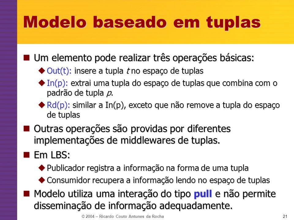 © 2004 – Ricardo Couto Antunes da Rocha21 Modelo baseado em tuplas Um elemento pode realizar três operações básicas: Um elemento pode realizar três op