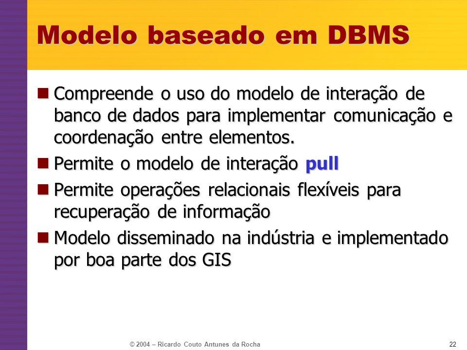 © 2004 – Ricardo Couto Antunes da Rocha22 Modelo baseado em DBMS Compreende o uso do modelo de interação de banco de dados para implementar comunicaçã