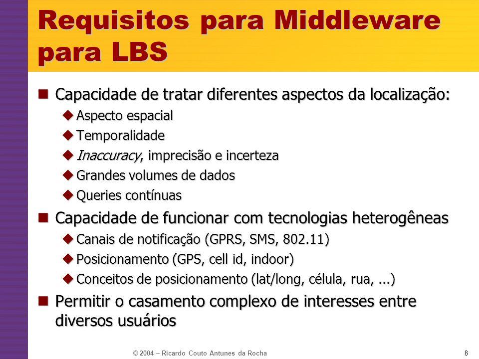 © 2004 – Ricardo Couto Antunes da Rocha9 Modelos de middleware para LBS Publish/Subscribe Publish/Subscribe Baseado em conteúdo Baseado em conteúdo Baseado em subject spaces Baseado em subject spaces Espaço de tuplas Espaço de tuplas Baseado em DBMS Baseado em DBMS