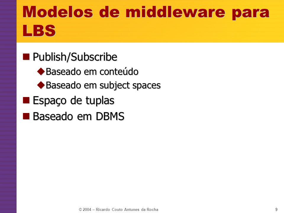 © 2004 – Ricardo Couto Antunes da Rocha9 Modelos de middleware para LBS Publish/Subscribe Publish/Subscribe Baseado em conteúdo Baseado em conteúdo Ba