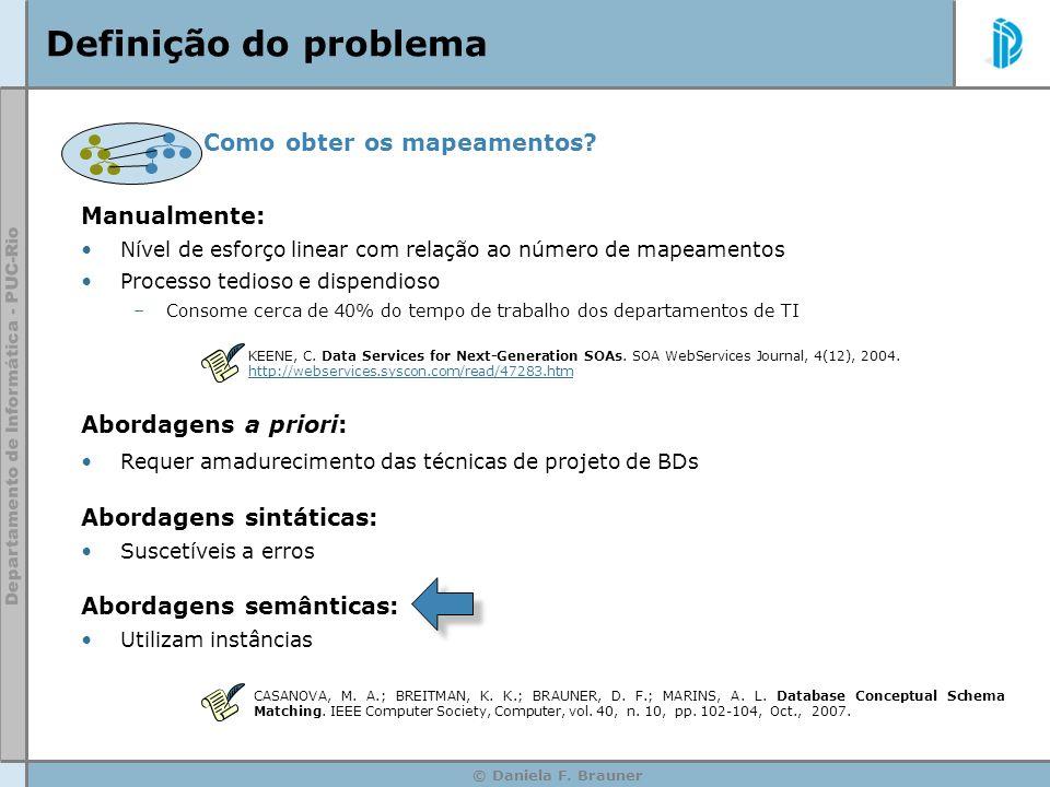 © Daniela F. Brauner Definição do problema Como obter os mapeamentos? Manualmente: Nível de esforço linear com relação ao número de mapeamentos Proces
