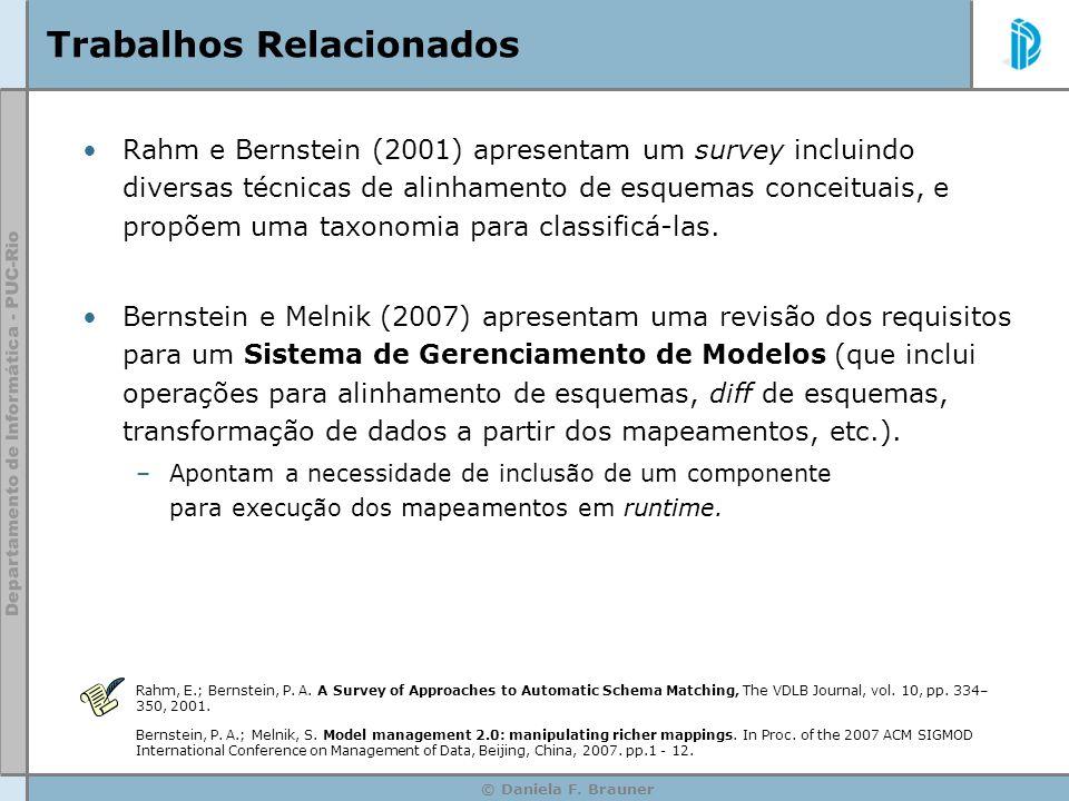 © Daniela F. Brauner Trabalhos Relacionados Rahm e Bernstein (2001) apresentam um survey incluindo diversas técnicas de alinhamento de esquemas concei
