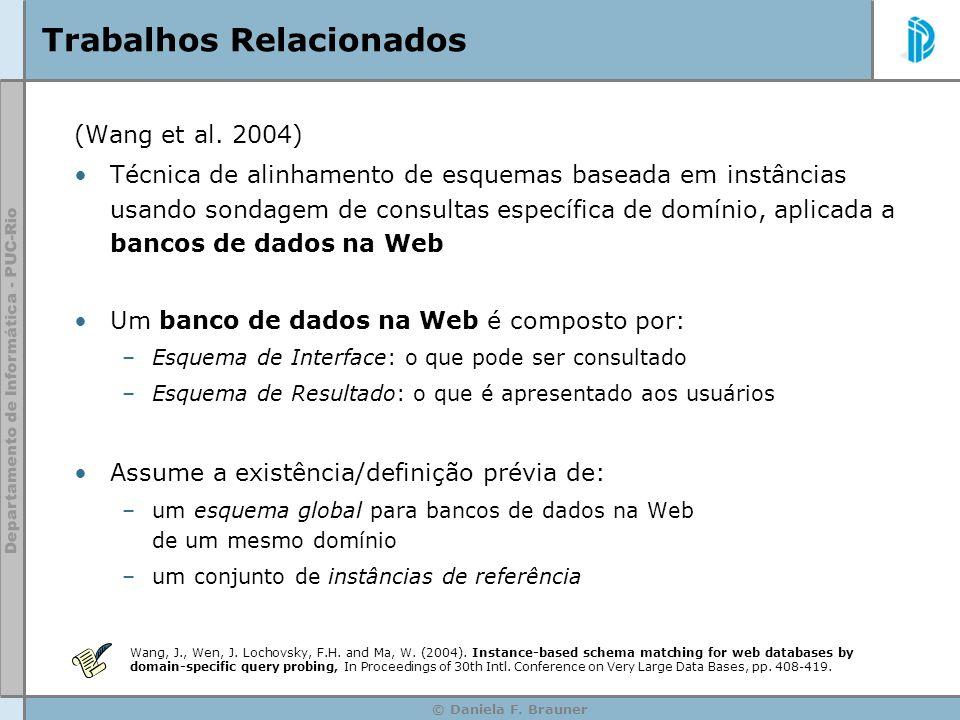 © Daniela F. Brauner Trabalhos Relacionados (Wang et al. 2004) Técnica de alinhamento de esquemas baseada em instâncias usando sondagem de consultas e