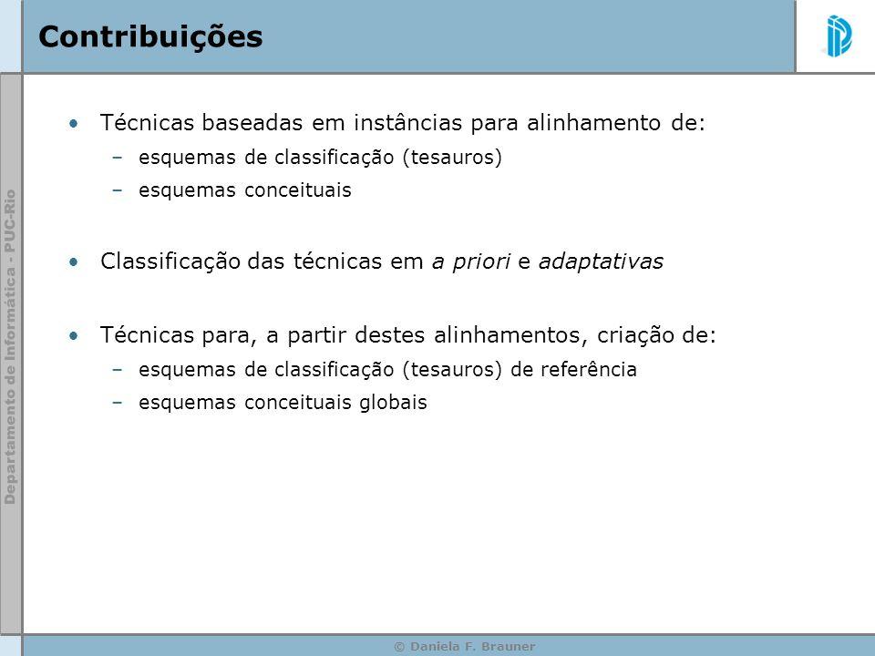 © Daniela F. Brauner Contribuições Técnicas baseadas em instâncias para alinhamento de: –esquemas de classificação (tesauros) –esquemas conceituais Cl