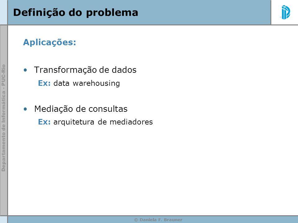 © Daniela F.Brauner Definição do problema TATA TBTB DB A DB B Transformação de dados: __ __ __ .