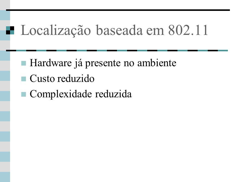 Localização baseada em 802.11 Hardware já presente no ambiente Custo reduzido Complexidade reduzida