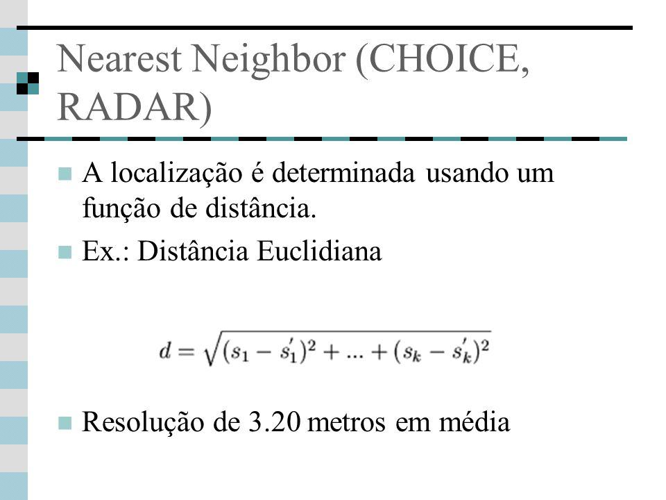 Nearest Neighbor (CHOICE, RADAR) A localização é determinada usando um função de distância. Ex.: Distância Euclidiana Resolução de 3.20 metros em médi