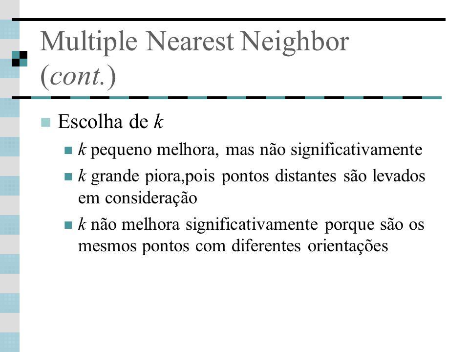 Multiple Nearest Neighbor (cont.) Escolha de k k pequeno melhora, mas não significativamente k grande piora,pois pontos distantes são levados em consi