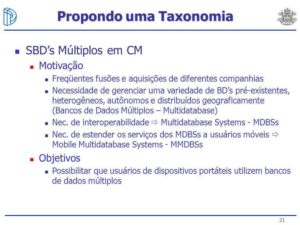 21 SBDs Múltiplos em CM Motivação Freqüentes fusões e aquisições de diferentes companhias Necessidade de gerenciar uma variedade de BDs pré-existentes