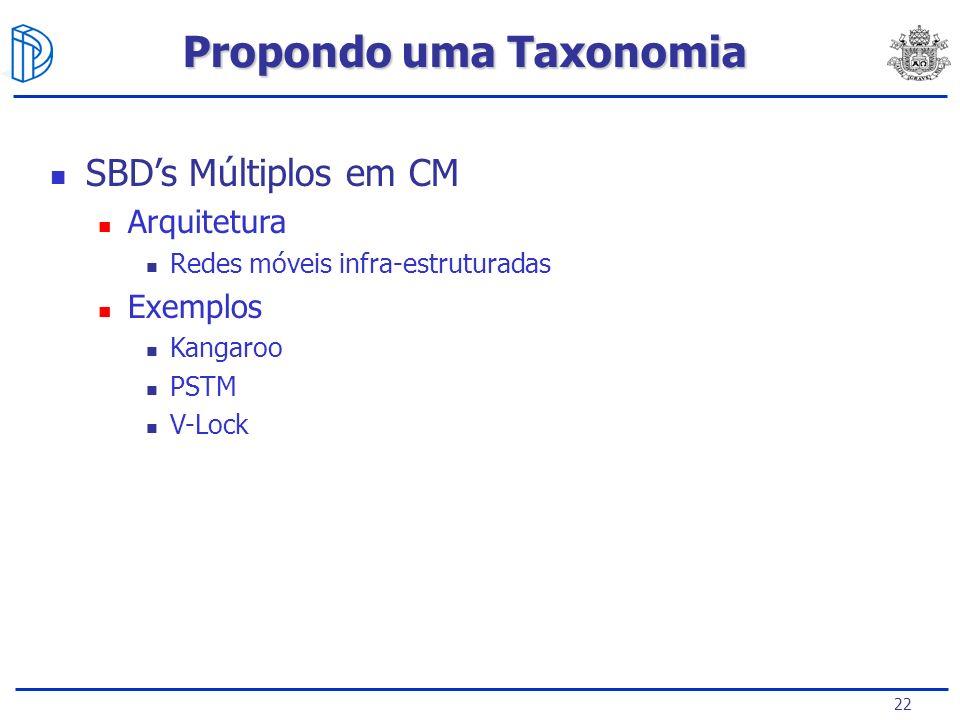 22 SBDs Múltiplos em CM Arquitetura Redes móveis infra-estruturadas Exemplos Kangaroo PSTM V-Lock Propondo uma Taxonomia