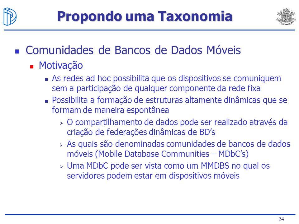 24 Comunidades de Bancos de Dados Móveis Motivação As redes ad hoc possibilita que os dispositivos se comuniquem sem a participação de qualquer componente da rede fixa Possibilita a formação de estruturas altamente dinâmicas que se formam de maneira espontânea O compartilhamento de dados pode ser realizado através da criação de federações dinâmicas de BDs As quais são denominadas comunidades de bancos de dados móveis (Mobile Database Communities – MDbCs) Uma MDbC pode ser vista como um MMDBS no qual os servidores podem estar em dispositivos móveis Propondo uma Taxonomia